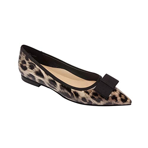 LANI | Pointy Toe Bow Vegan Ballet Flat Fashion Slip On Comfortable Insole Padded Arch Support Leopard Print Vegan Patent 9M