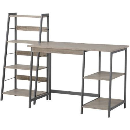 Homestar 2-Piece Laptop Desk and 4-Shelf Bookcase Set, Reclaimed Wood - 2 Piece Set Computer Desk