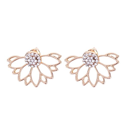 Chinatera Fashion Jewelry Rose Gold Lotus Earrings for Women Valentine's Day Birthday Gift (What To Get Her On Valentine Day)