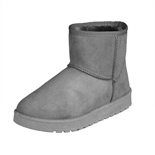 Kvinnor Vinterkängor, Egmy Boots Päls Fodrad Vinter Höst Varma Snön Stövlar Skor Grå