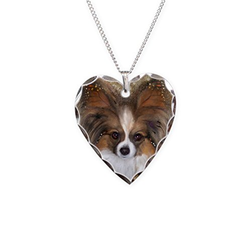 CafePress - Butterfly Ears Papillon - Charm Necklace with Heart - Necklace Papillon