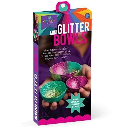 Craft-tastic - Mini Glitter Bowl Kit - Craft Kit Makes 3 Different-Sized Tiny Glitter Bowls