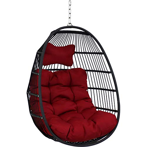 Sunnydaze Julia Hanging Egg Chair with Seat Cushions - Decorative Comfy Bohemian-Style Collapsible Chair - Black Polyethylene Wicker Rattan Frame with Red Polyester Cushions - 44 Inches Tall