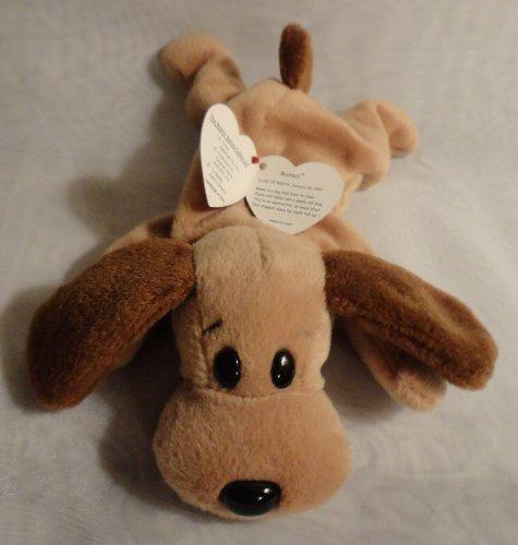 TY Beanie Babies Bones the Hound Dog Stuffed Animal Plush Toy - 8 inches long - Style 4001 by (Beanie Bone Dog Toy)