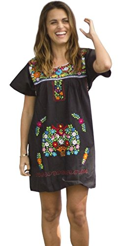 Liliana Cruz Embroidered Mexican Peasant Mini Dress (Black size 2X)
