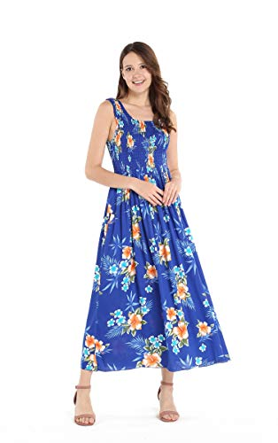 Women's Hawaiian Maxi Tank Elastic Luau Dress in Hibiscus Blue
