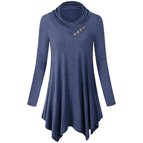 Camicie Felpa Lunghe collo Office Camicette Tops Work Autunno T Breve Maniche Pullover Abcone Wear shirt donna V Blu Casual Elegante 78qxaIp