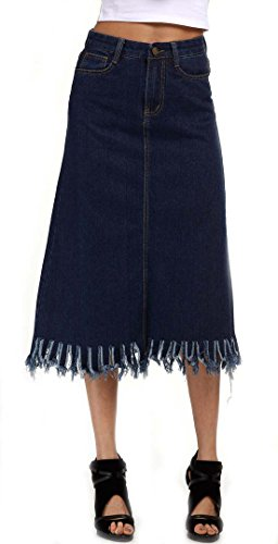QZUnique Women's Washed Fray Hem Denim Midi Jeans Skirt Blue US M (Denim Fray)