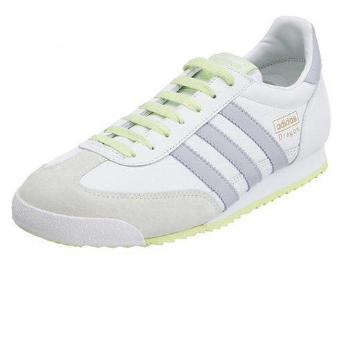 Adidas Women's Dragon Leather Running Shoe, White/Purple/Lime, 11 ...