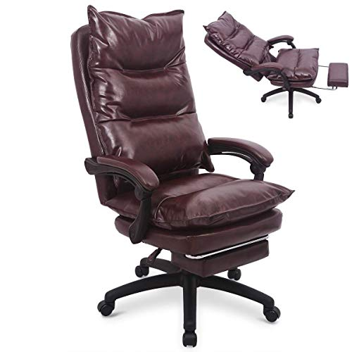 Ergonomic PU Leather Executive Office Chair Desk Task Computer Chair Swivel High Back Chair