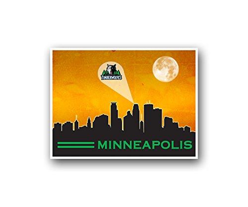 Minnesota Timberwolves Poster Sports Art City Skyline Print Man Cave Decor