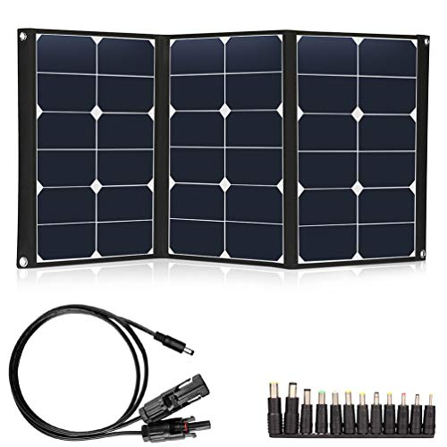 60W Portable Solar Panel Sunpower Foldable 12V Solar Panel Charger Dual 5V USB and 18V DC Solar Charger for Portable Generator, 12V Battery, Camping, Hiking, Other 5-18V Device