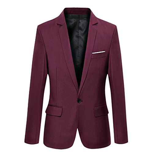 Pishon Men's Blazer Jacket Lightweight Casual Slim Fit One Button Sport Jackets, Wine Red, TagsizeXXXXL=USsizeL