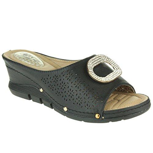 Mujer Señoras Almohadillas de talón Casual Suave Comodidad Absorción de impactos Ponerse Respirable Revestimiento Tacón de cuña Sandalias Zapatos Talla Negro