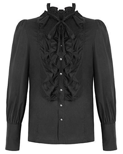 Punk Rave Herren Shirt Top schwarz Gothic Steampunk VTG Regentschaft Aristocrat VIKTORIANISCH