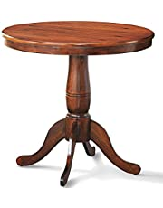 """DORTALA 32"""" Round Dining Table, Classical Pedestal Table, Wood Kitchen Table,32 Inch Dinner Table for Kitchen and Dining Room, Walnut"""