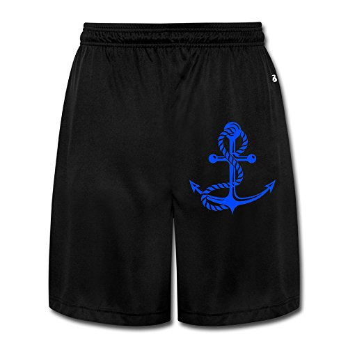 AOLM Mens Performance Shorts Sweatpants Trousers Nautical Anchor Lined Black XXL. (Nautical Sweatpants)