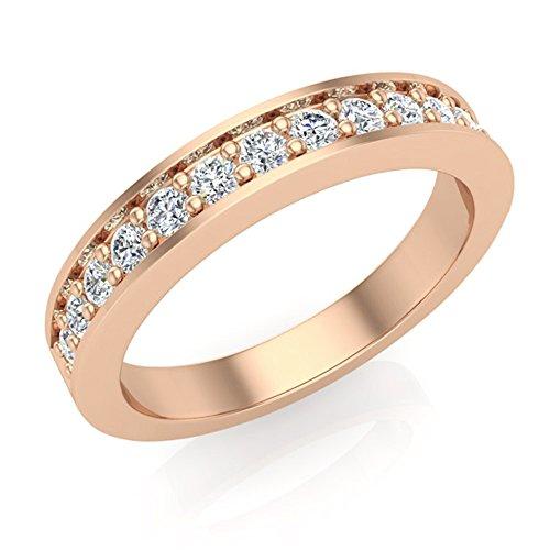0.33 ct tw Round Brilliant Diamond Wedding Band Ring 14K Rose Gold (Ring Size 7) -