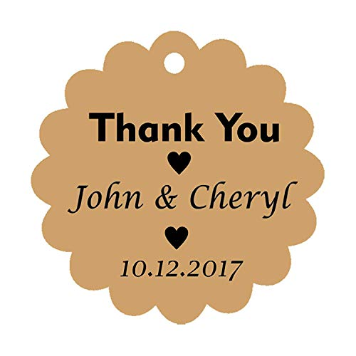 100 PCS Personalized Thank You Hang Tags Custom Wedding Party Favors Round Scallop Edges Gift Paper ()