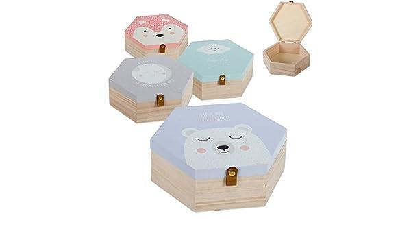 Dcasa - Juego de 4 cajas madera diseño Infantiles .: Amazon.es: Hogar