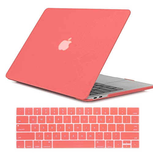 Se7enline New Mac Book Pro 13 inch Case Matte Plastic Hard Laptop Cover for MacBook Pro 13 with/Without Touch Bar Model A1708/A1706/A1989 2016-2019 Version with Keyboard Cover Skin,Living Coral