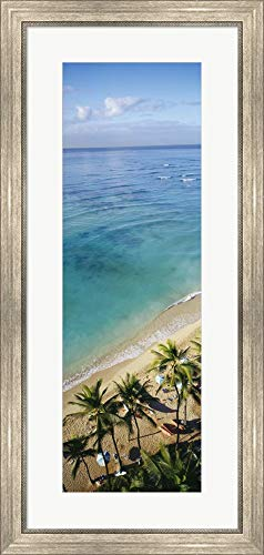 High Angle View of Palm Trees with Beach Umbrellas on The Beach, Waikiki Beach, Honolulu, Oahu, Hawaii, USA by Panoramic Images Framed Art Print Wall Picture, Silver Scoop Frame, 18 x 37 inches