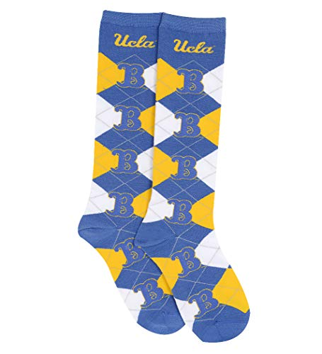 Ucla Bruins Ncaa Pattern - For Bare Feet NCAA Repeat Logo Argyle Knee High Socks-Medium (UCLA Bruins-Blue B)