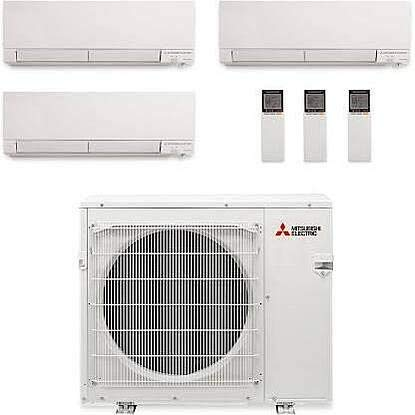 Mitsubishi Multi-Split Heat Pump Outdoor Unit- 24,000BTU/H with 3 Wall Mount Mini Split Air Conditioner 6,000BTU + 6,000BTU + 12,000BTU