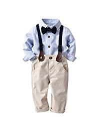 Heiner Toddler Baby Boys Striped Gentleman Bowtie Long Sleeve Shirt+Overall Pants Sets(12 Month-3 Year