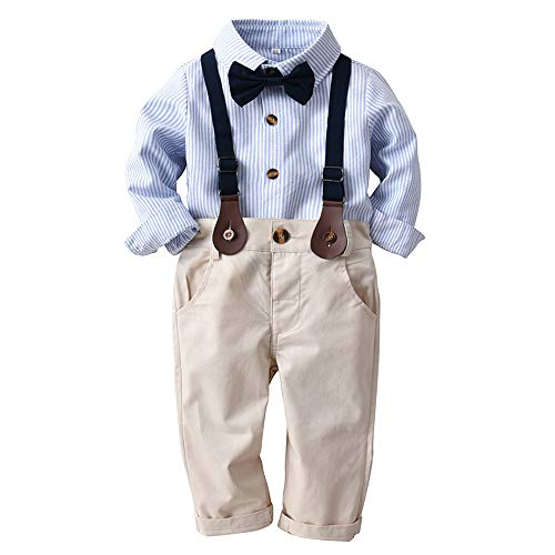 (iZHH Toddler Baby Boys Fashion Striped Gentleman Bowtie Shirt Overall Pants Sets(Blue,12-18 Months))