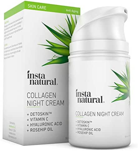 Collagen Night Anti Aging Cream - Anti Wrinkle Moisturizer for Face & Neck- Helps Reduce Appearance of Wrinkles & Fine Lines - Natural & Organic - Vitamin C & Hyaluronic Acid - InstaNatural - 1.7oz