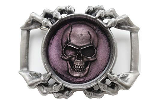 TFJ Men Belt Buckle Western Fashion Metal Skeleton Skull Eagle Claws Silver Biker Style ()