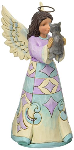 "Jim Shore Heartwood Creek Pint Size Angel with Kitten Stone Resin Figurine, 5"" ()"