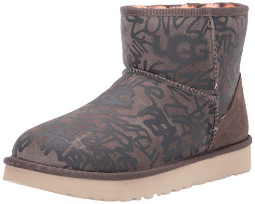 UGG Women's Classic Street Graffiti Mini Fashion Boot, Slate, 10 M US from UGG