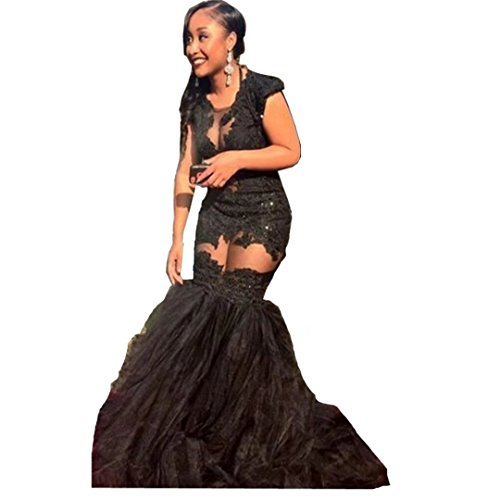 Chady Prom Dresses 2017 Long Sexy Transparent Black Tulle Long Short Cap Sleeve Mermaid Evening Lace Appliques Party Dress by Chady