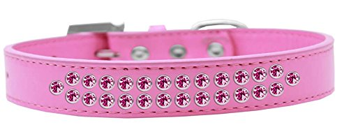 Mirage Pet Products Two Row Bright Pink Crystal Bright Pink Dog Collar, Size 20 by Mirage Pet Products