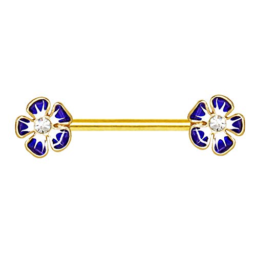 Gold Plated Jeweled Hibiscus Flower Nipple Bar