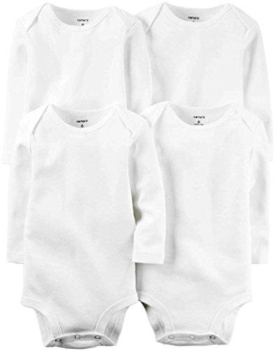 Infant Boys Long Sleeved (Carter's Unisex Baby White Multi-Pack Bodysuits 126g388, 9)