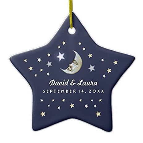 navy blue gold white moon stars wedding custom christmas ornaments holiday tree ornament both sides star
