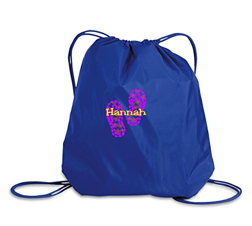 Flip Flop Personalized - Drawstring Sack Cinch Backpack (Royal)