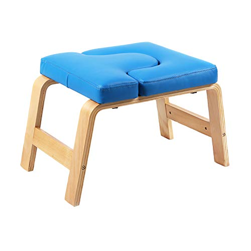Desire Life Yoga Headstand Bench - Stand Yoga Chair for Family, Gym - Wood and PU Pads - Relieve Fatigue and Build Up Body (Blue) by Desire Life (Image #1)