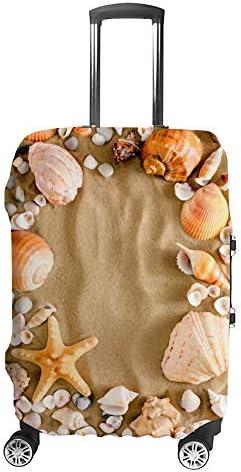 スーツケースカバー 伸縮素材 トランク カバー 洗える 汚れ防止 キズ保護 盗難防止 キャリーカバー おしゃれ ビーチ シェル ポリエステル 海外旅行 見つけやすい 着脱簡単 1枚入り