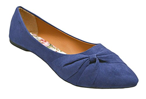 Shop Pretty Girl Womens Flats Jersey Morbido E Finto Vegano In Pelle Comodo Basic Antiscivolo Su Balletto Scarpe Da Ballo Blu Navy