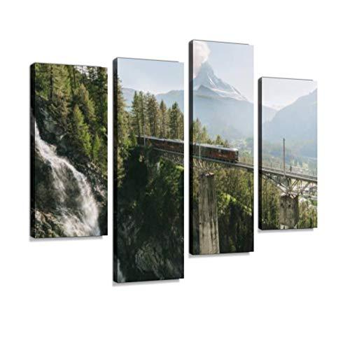 Train on The Background of Matterhorn Mountain Canvas -
