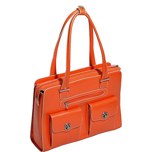McKlein USA Verona Leather Laptop Handbag for Women Business Tote in Orange