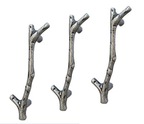 UniDecor 10pcs silver twig branch zinc alloy decorative cabinet wardrobe furniture door drawer handles (C.C.: 3.78 Inch L: 4.76 (Tree Branch Pull)