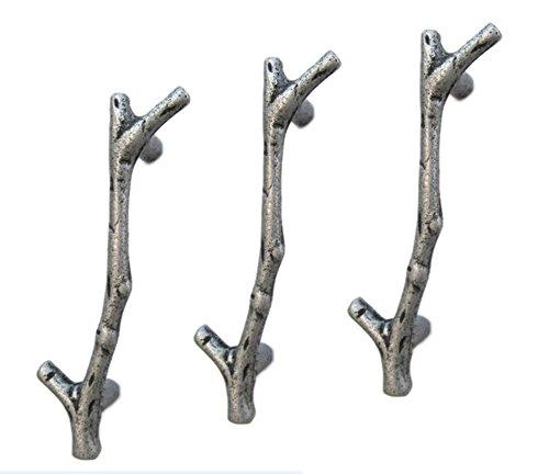UniDecor new 10pcs silver twig branch zinc alloy decorative cabinet wardrobe furniture door drawer knobs pulls handles hardware (C.C.: 3.78 Inch L: 4.76 Inch)