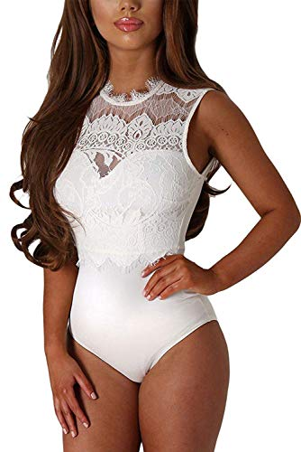 Aranmei Womens Sexy Floral Sheer Lace Sleeveless Bodysuit Clubwear Tops, White, Large