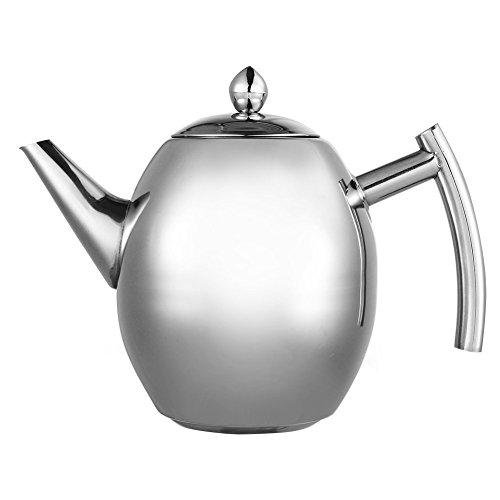 Tetera con filtro de te, filtro de cafe, infusor de te de acero inoxidable para cocina, cafeteria, hotel, restaurante y oficina, 1 L
