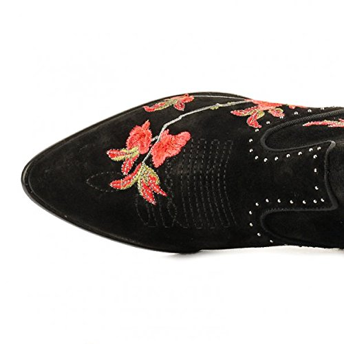 Embroidered Ankle Black HEIDI Boots Black Ash Suede RZPwxS
